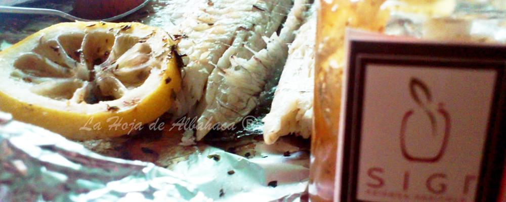 Branzino al cartoccio con confettura di mele alla menta